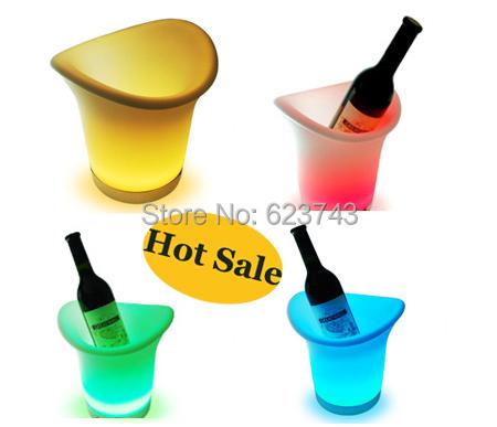 Free grátis 2 pçs/lote 2.7l móveis de mudança de cor led balde de gelo, levaram balde de cerveja coolers para bares, partido, barril de vinho de cerveja LEVOU