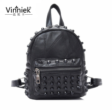 Famous Brand 100 Genuine Leather Women Backpacks Sheepskin Daily Backpack Girl School Bag Rivet Travel Bag