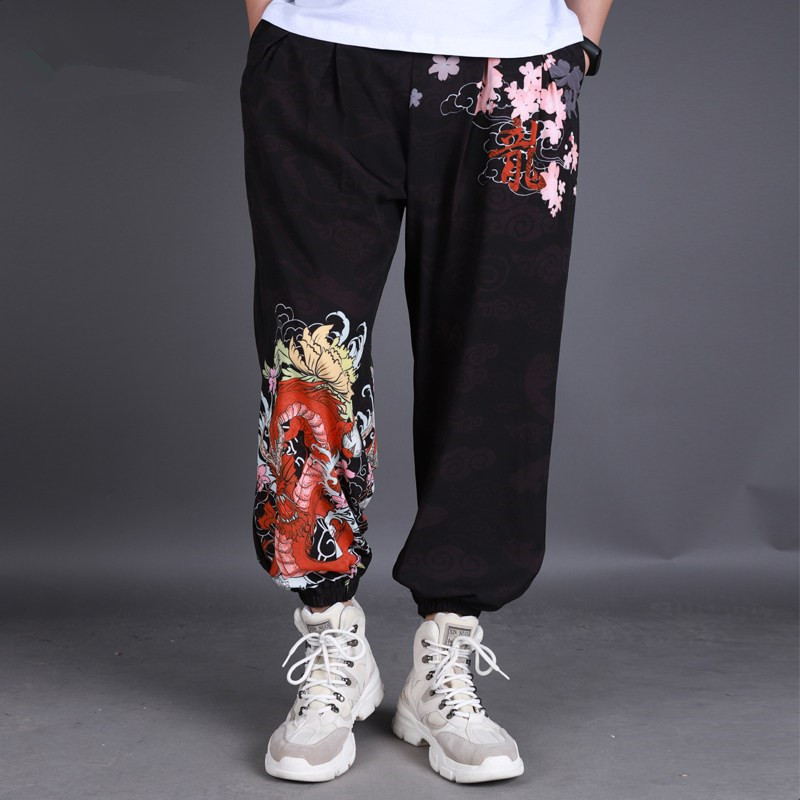 Hip Hop Trousers Men Chinese Style Casual Loose Harem Pants Dragon Pattern Loose Baggy Mens Sweatpants Plus Size Joggers DS50567