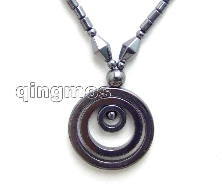 Big 38mm Circle Black Pendants and knurl Shape natural Hematite 18 Necklace -nec5082 Wholesale/retail Free shipping