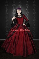Robe De Mariage 2016 Gothic Silk Marie Antoinette Fantasy Dark Red And Black Lace Ball Gown