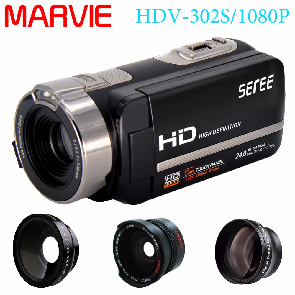 Marvie FHD 1080P 30FPSDigital Video Camcorder Night Vision Wide Angle Macro Fisheye Shooting 24MP 3 Inch Touch Screen Camera 1