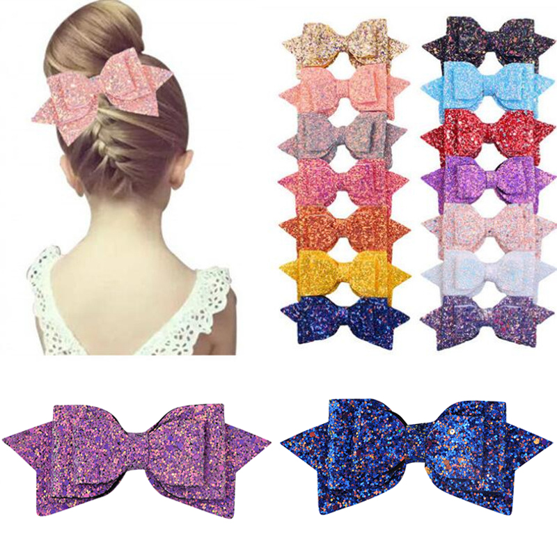 New Arrival 5 Inch/3 Inch Children Girls Shining Bow Cute Hair Accessories Hair Clips Women Girls Exquisite Bow-knot Headwear(China)