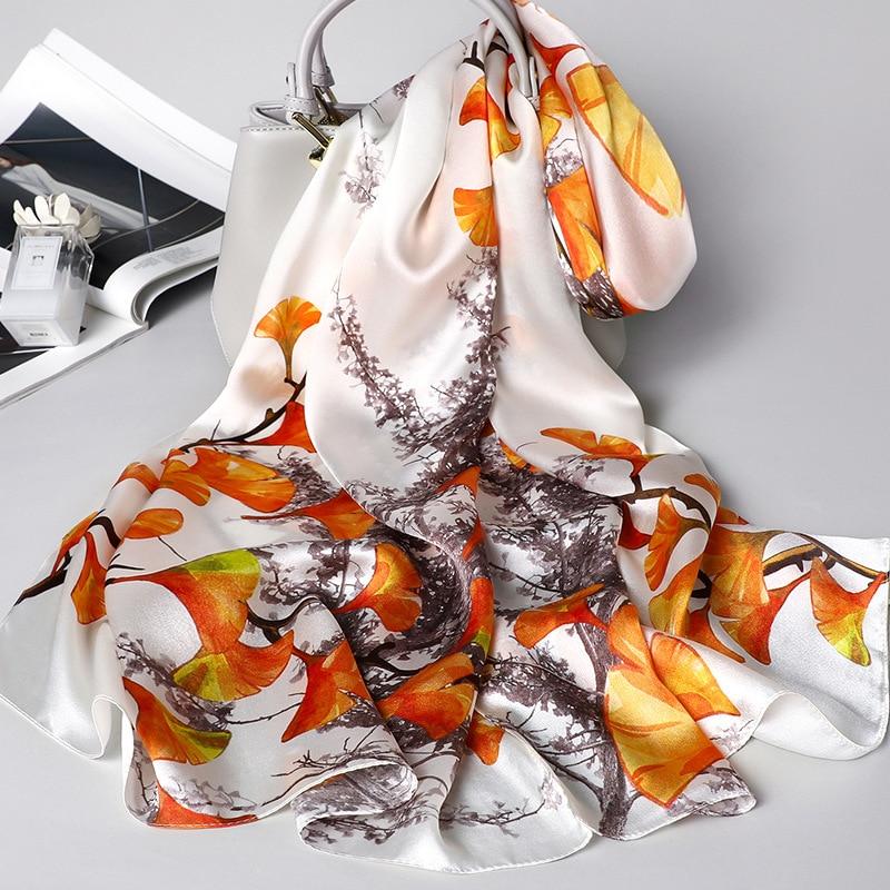 Summer, Autumn Luxury Silk   Scarf     Wraps   Hot Sale Female Long   Scarf   Cape Fashion New Design printing Mulberry Silk   Scarf   Muffler