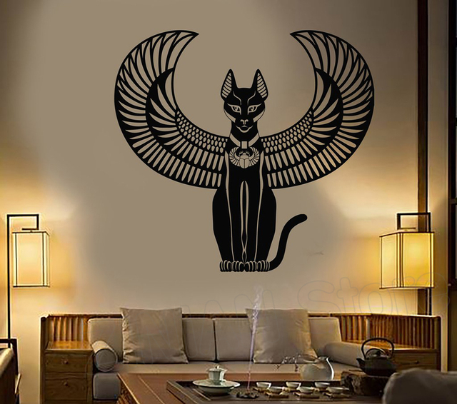 bastet vinyl wall sticker decals bedroom decoration ancient egyptian