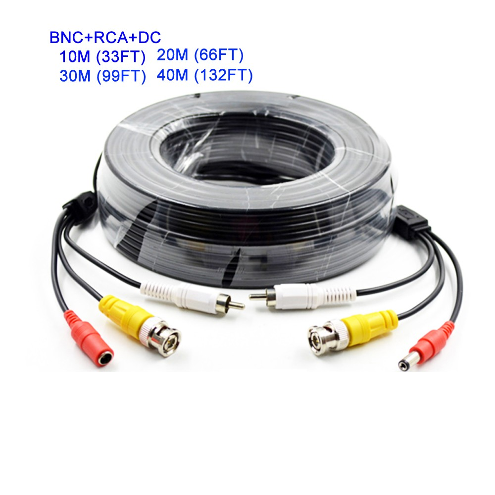 10m 20m 30m 40m CCTV BNC + DC +RCA Cable for CCTV Camera Coaxial Video Audio Power Siamese Cable for Surveillance DVR System Kit