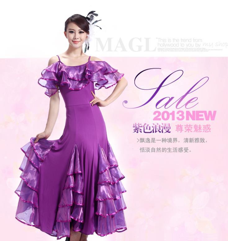 Stage & Dance Wear Novelty & Special Use Nice Led Costume Violet/red/black Ballroom Dress For Women Shoulder Strap Kaka Dance Dress Lotus Leaf Collar Disfraces Women