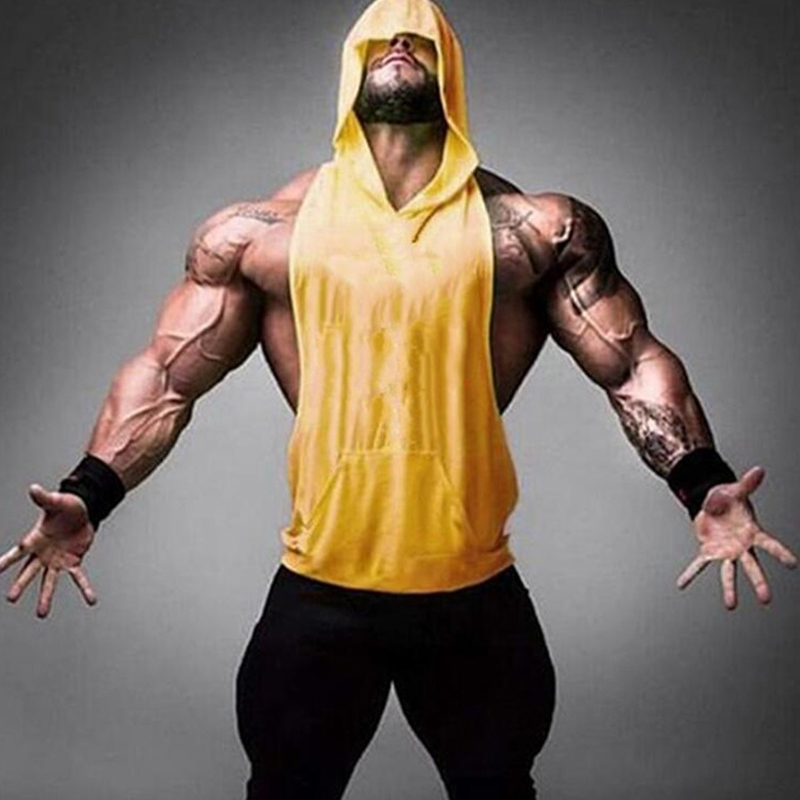 Bodybuilding Stringer Mens Muscle Hoodies Fitness Sleeveless Gym Tank Top Vest