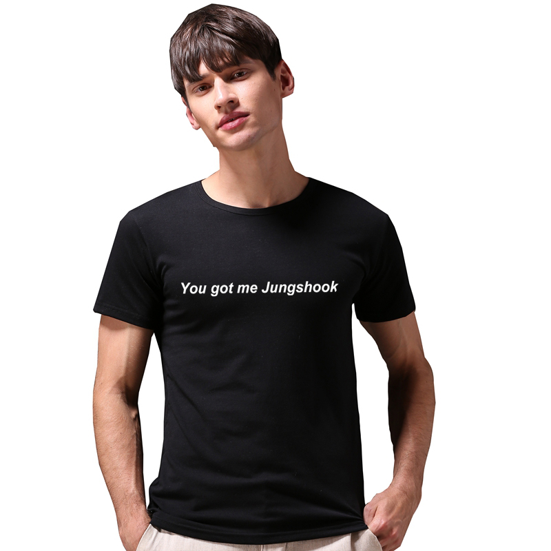New 2018 Fashion You Got Me Jungshook Casual Short Sleeve Tee Men Top Summer Simple Harajuku Tumblr Cotton Befree Bts T shirt in T Shirts from Men 39 s Clothing