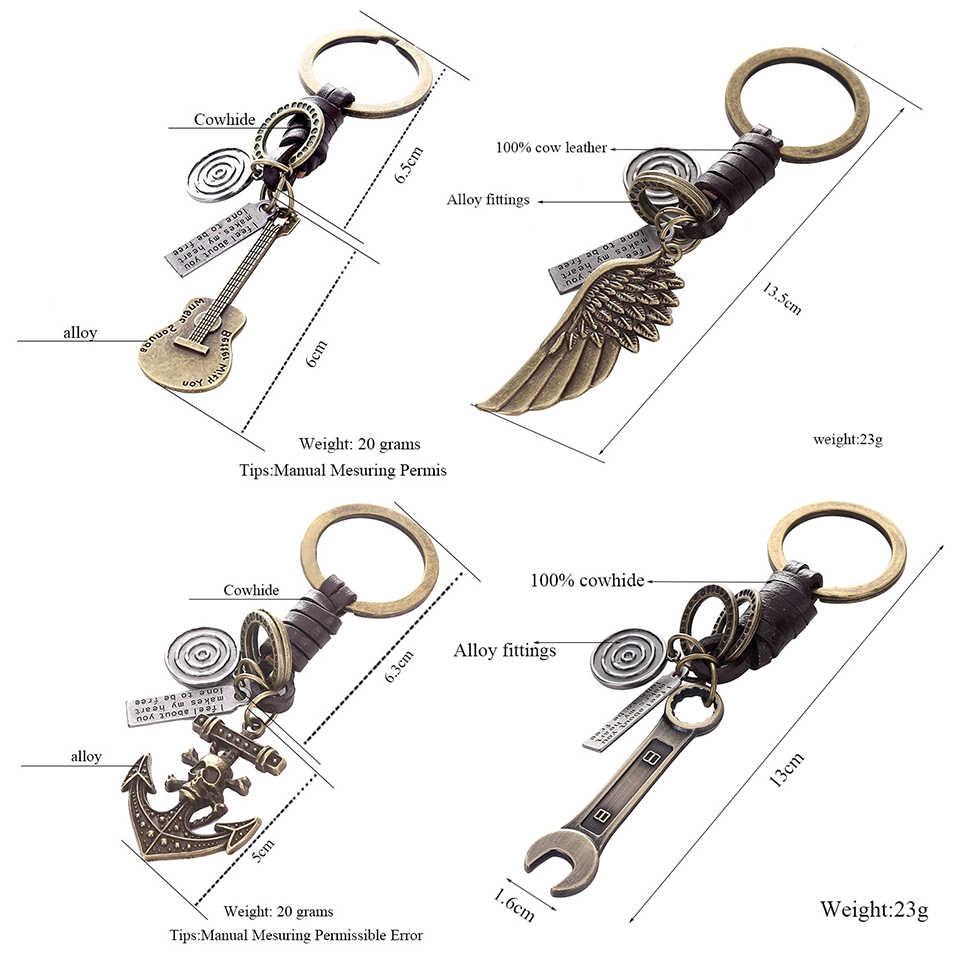 Wielokrotny gitarowy wisiorek z motylem zawieszenie skórzany brelok breloczek Charms na klucze akcesoria do kluczy samochodowych brelok na torbie