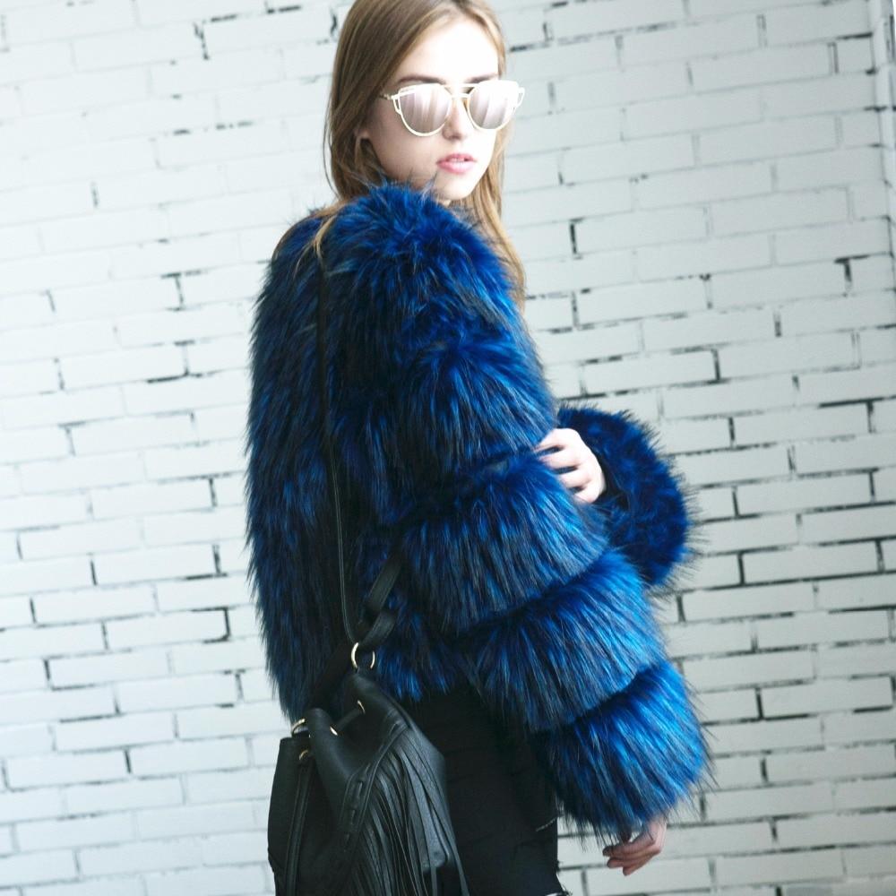 Fashion Raton Fourrure Dames Survêtement Veste Faux Bande Laveur Fluffy Blue Manteau De Manches Poilu Chic black rwUrtqfR