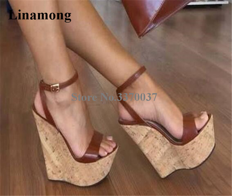 Summer Fashion Ladies Height Increasing One Strap Wedge Sandals Open Toe Black Brown High Platform Ankle Strap Wedge Shoes black solid open toe ladies wedge sandals summer 2015 ankle buckle strap rivets high heels high platform woman shoes handmade