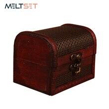 Mini joyero de madera Vintage, caja de almacenamiento de maquillaje de madera, estilo Retro, joyería, pendientes, anillos, ataúd, organizador, estuche cosmético, bolsa