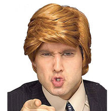 Newest Cheap Donald Trump Wig Comb Over President Donald Trump Wig for Halloween Costume Adult Easy Halloween Fancy Hair Costume