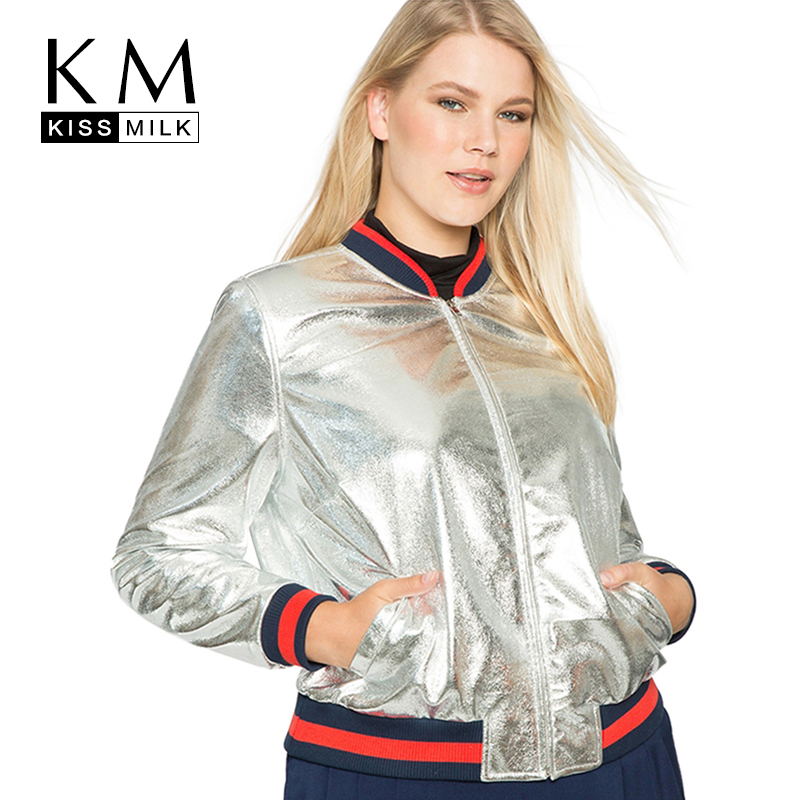 Kissmilk Plus Size Fashion Women Clothing Casual Solid Metallic   Basic     Jacket   Long Sleeve Big Size PU   Jacket   3XL 4XL 5XL 6XL