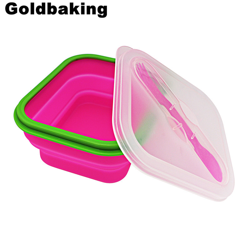 Goldbaking Silicone Collapsible Lunch Box Food Container