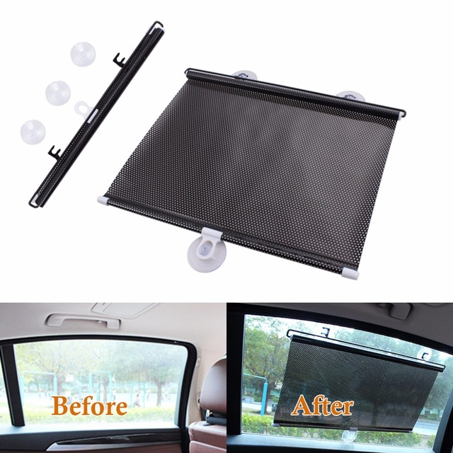 Retractable Car Curtain Auto Rear Front Side Window Screen Roller Sun Shade  Blind UV Protector Sun