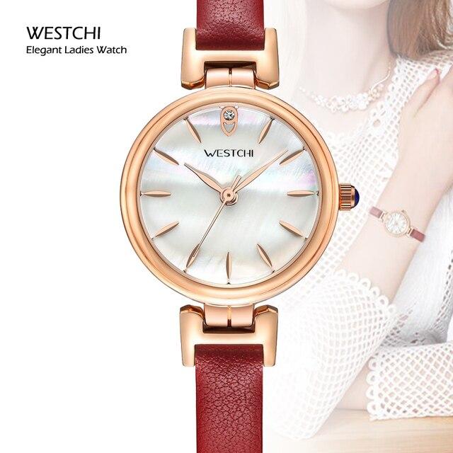 Luxury Gold Women Dress Watch Famous Brand WESTCHI Leather Strap Analog Elegant Ladies Watch Female Ultra thin Quartz Wristwatch