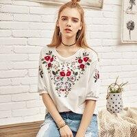 Artka Summer 2018 New Ladies Elegant Floral Embroidered 95 Cotton Half Sleeve O Neck White T