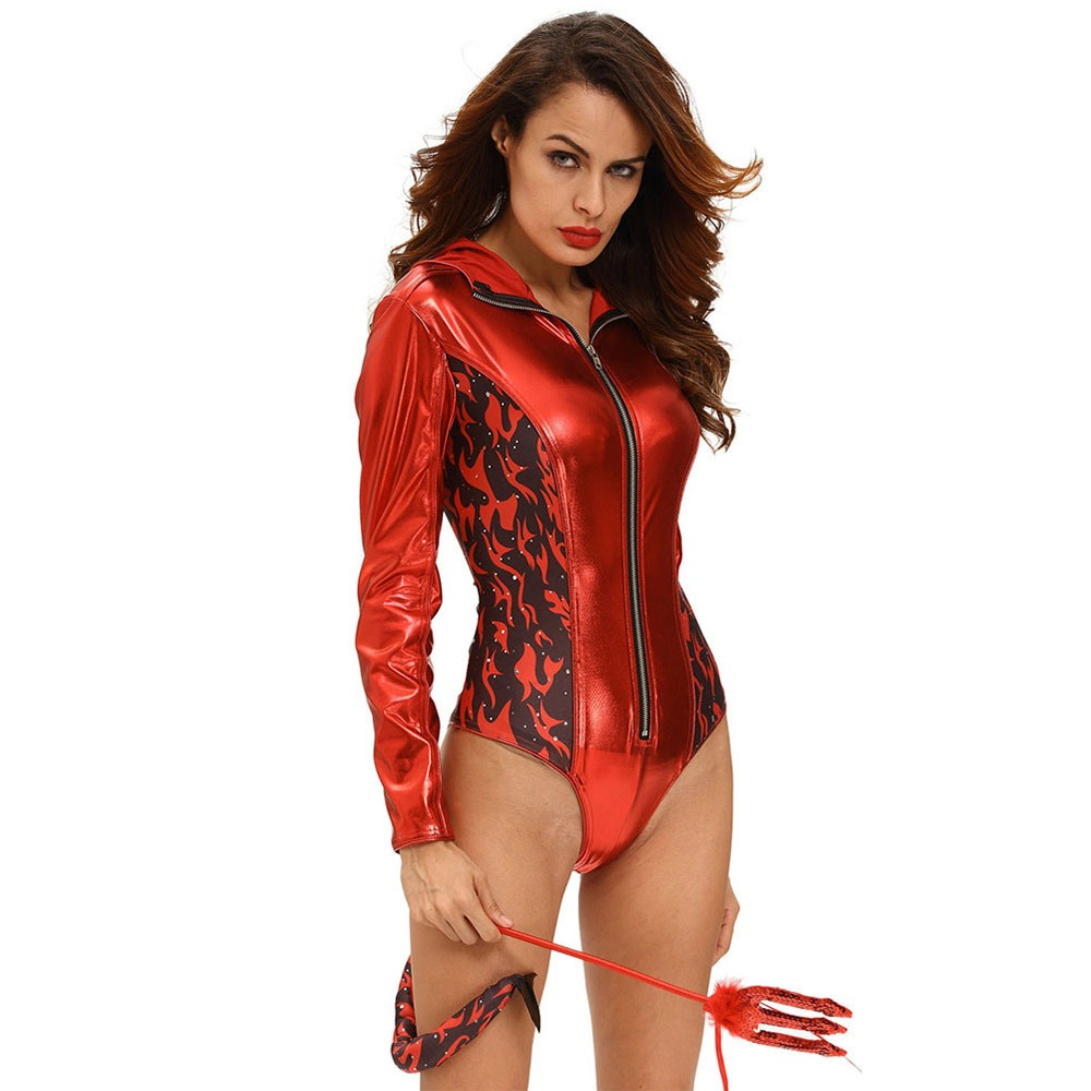 6fc10f59133 Goth Red Devil Horns Hooded Bodysuits Cosplay Women Halloween ...