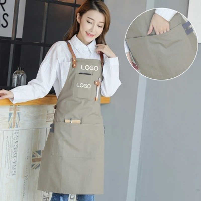 Новый 2018 барбекю Холст Фартук с карманом платье нагрудник Кожаный Ремни кухонный фартук для женщин мужчин готовка официантка хлопок Пользовательский логотип