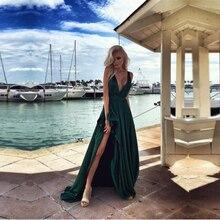 Sexy Jägergrün Lange Abendkleid mit Slit Tiefem V hals Meer Strand Prom Kleider Günstige Customized Vestido de Festa günstige