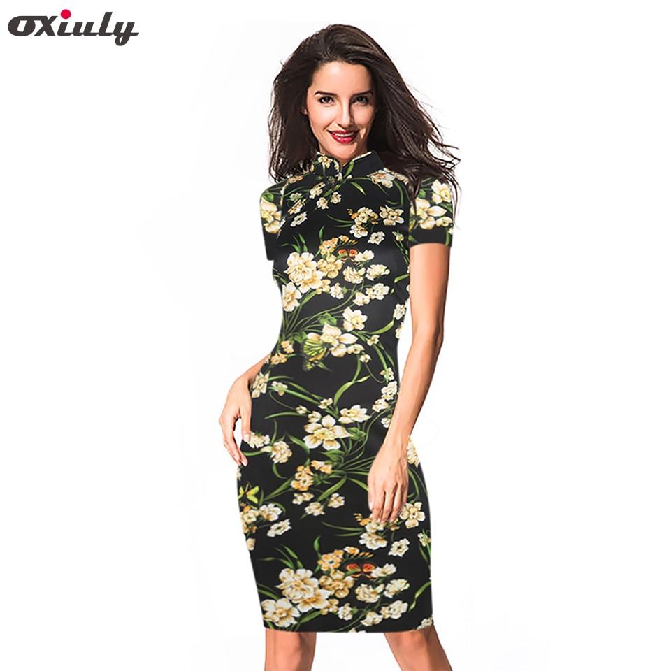 Oxiuly sieviešu modes kleita Vintage Bodycon kleitas ziedu apdruka - Sieviešu apģērbs - Foto 1