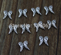 Vintage Silver Angel Wings Floating Locket Charms  DIY For Floating Locket 30mm Gifts  Lockets Necklace Jewelry  100Pcs Q546