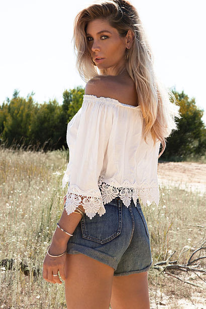 Beauty Boho Lace Off Shoulder Crop Top 3