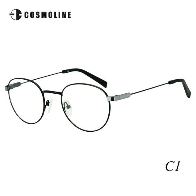 Cosmoline Retro Rodada Óculos de Armação com Lente de 0 Graus Liga de Metal Mulheres Óculos de Armações de Óculos para As Mulheres High Grade 470