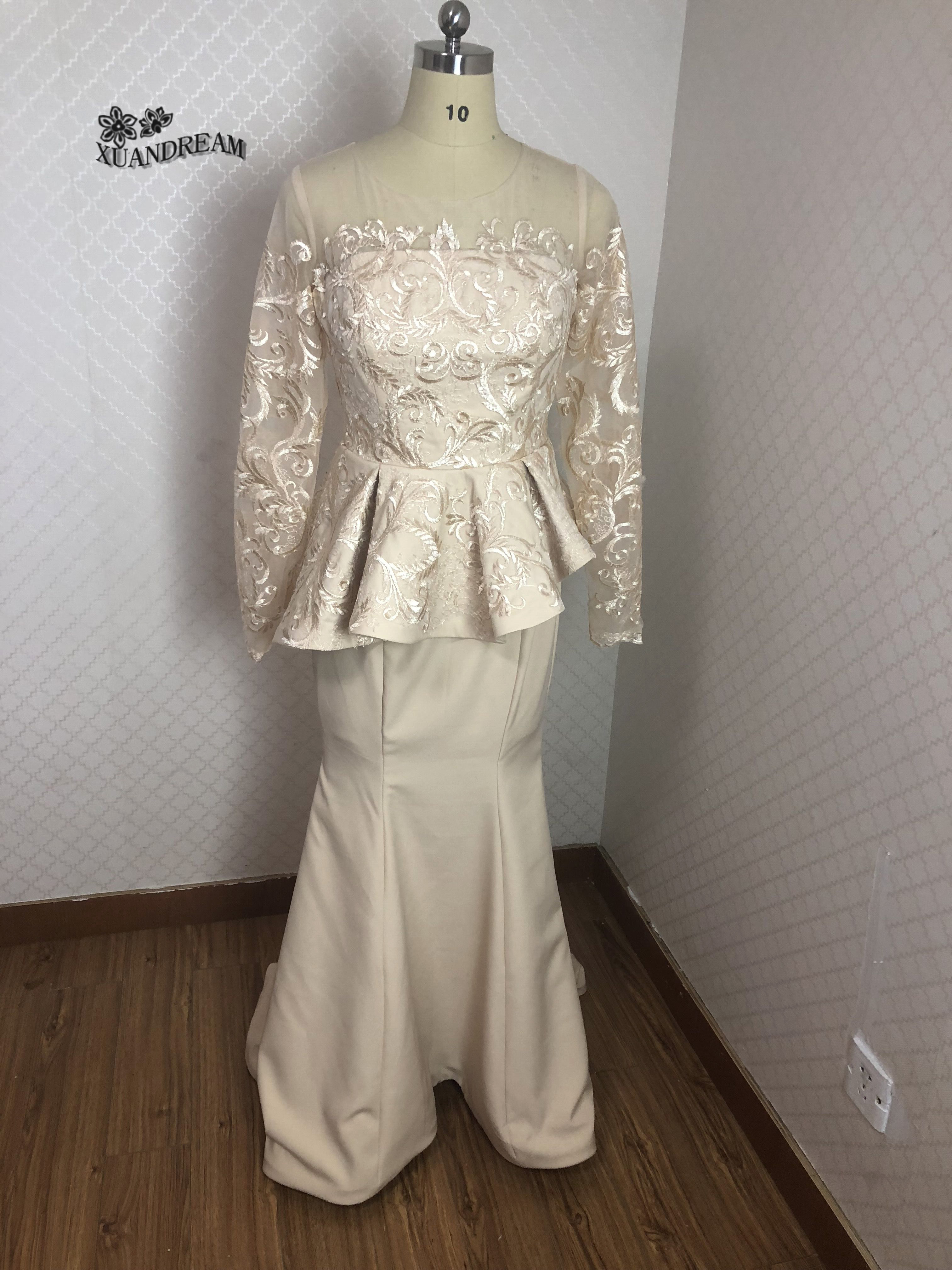 100 Real made photo long sleeves evening dress hot sale high quality elegant mermaid