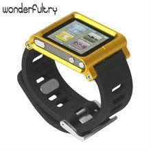 Wonderfultry Алюминий Часы-Браслет Наручные Обложка Чехол для iPod Nano 6 6-й Gen 10 Цветов Розничный Пакет Бесплатная Доставка