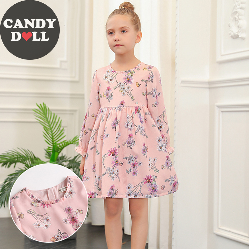 CANDYDOLL Autumn Floral Dress New Garden Style Girl Pink Dress Princess Cute Kids Long-sleeved Vestido for Baby Girls 3-10 years