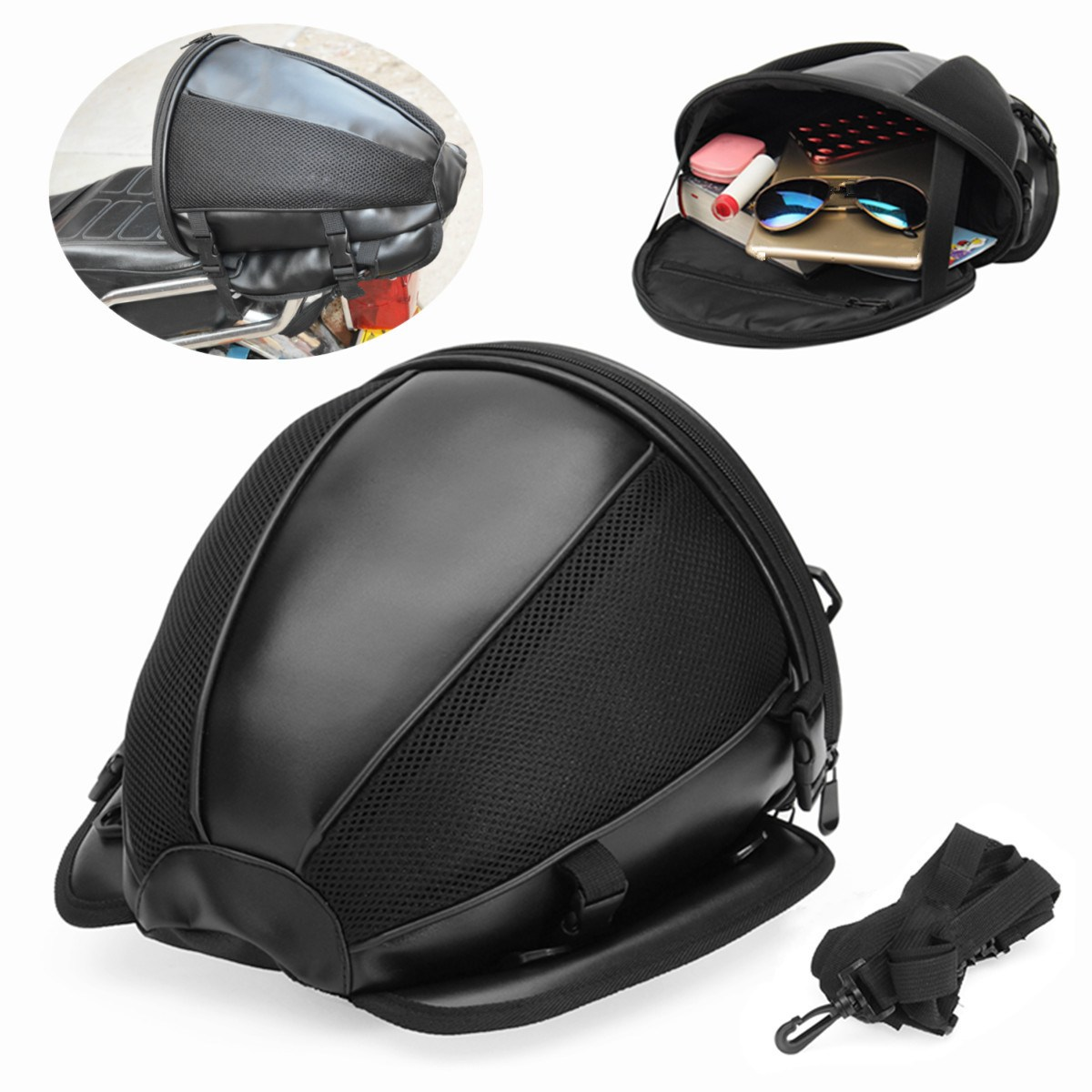 GES Magnetic Motorrad Sattel Beutel Halter Motorbike Fuel Bag Motorcycle Tank Bag Waterproof Oxford Saddle Black Motorbike Pack