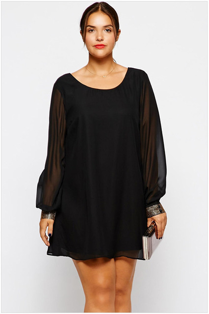 New Arrivals Plus Size 2015 Spring New Women Loose Black Long