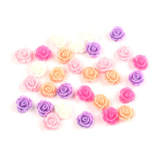 LF 100Pcs Mixed Flowers Resin Decoration Flatback Cabochon Embellishment For Crafts Scrapbooking Diy Versiering Accessories
