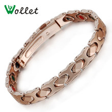 Wollet Jewelry 19.5cm Magnetic Tungsten Bracelet For Women or Men Rose Gold Color Germanium Infrared Negative ion Watch Buckle(China)