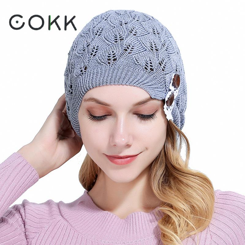 COKK Knitted Beanie Female Hat Skullies Beanies Lace Button Hollow Knit Cap Autumn Winter Hats For Women Bonnet Femme Fall Cap 2017 new lace beanies hats for women skullies baggy cap autumn winter russia designer skullies