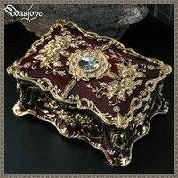 Big Size Royal Jewellery Case Fashion Jewelry Box Cardinal/Navy/White Zinc alloy Metal Trinket Box Flower Storage Christmas Gift