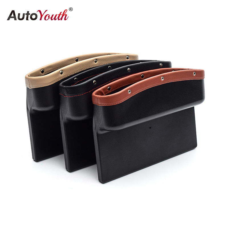 AUTOYOUTH Car Seat Crevice Pockets 3 Color PU Leather Leak-Proof Storage Box Car Organizer Universal Car Seat Side Gap Pocket 2pcs car seat gap pocket catcher organizer leak proof storage bags multifunctional seat gap store content box a8046