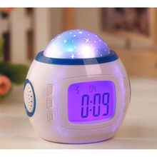 Colorful natural sound chord music starry sky projection calendar clock