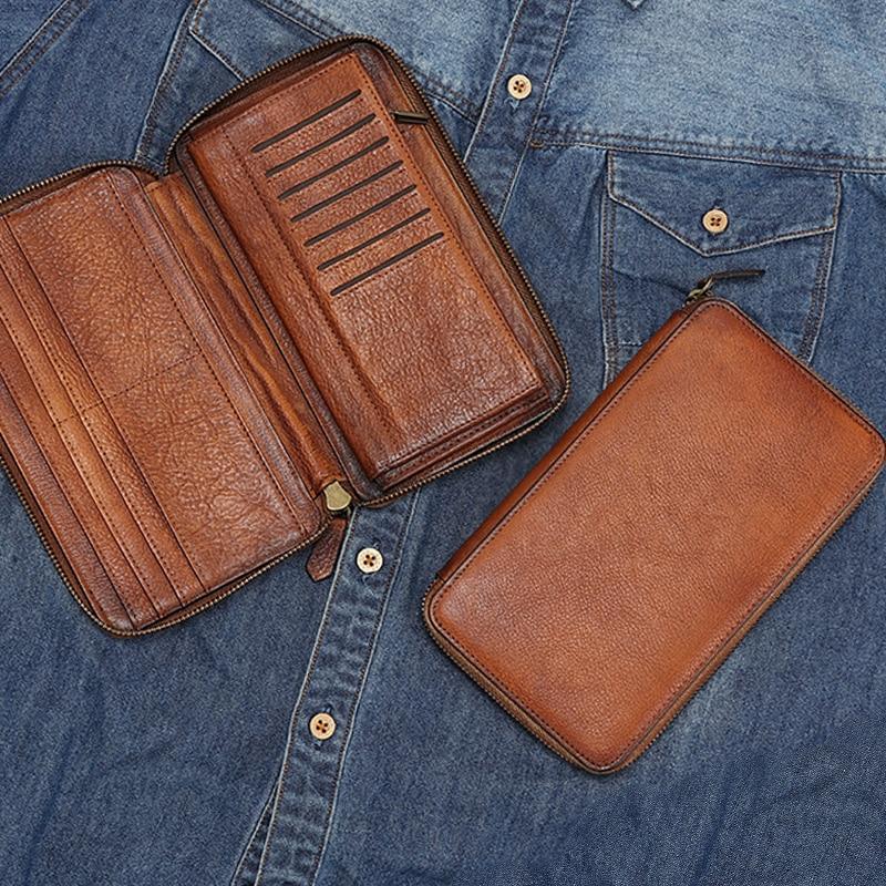 Dos homens de Couro genuíno sacos de embreagem longo zipper carteira retro artesanal juventude Retro masculino multi carteiras de cartão de grande capacidade - 2