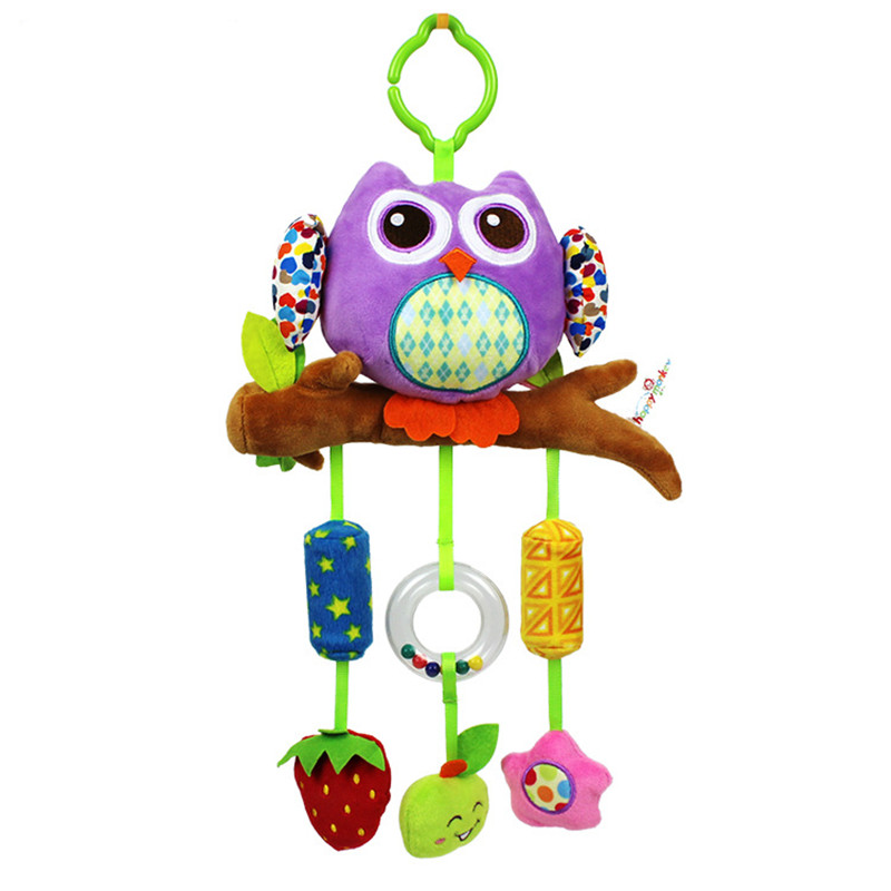Baby plush cartoon animal Owl lathe hanging bells with 3 Wind chimes baby carriage hanging bed hanging hand grasping toys giraffe rabbit bed bells infant toy long hanging animal baby child rattle bed bells toys for gril boy gift 50% off