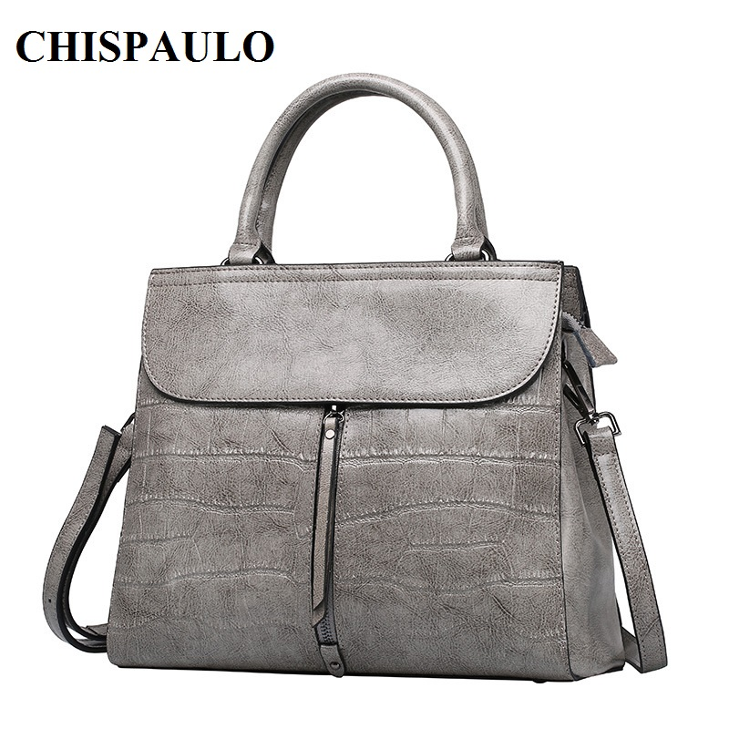 CHISPAULO 2017 Brand Stone Pattern Women Bag Soft Genuine Leather Women Handbag Fashion Shoulder Bag Femal Top-Handle Bag C131 2017 fashion women bag genuine leather alligator pattern women shoulder bag soft leather brand bag women handbag femaletote bag