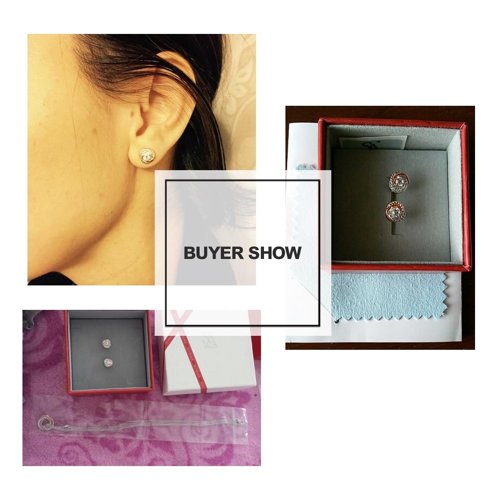 SA SILVERAGE Pravi 925 Sterling Silver Stud Naušnice Rose Gold Boja - Fine nakit - Foto 3