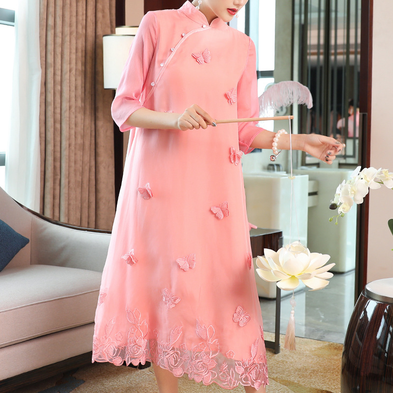 Chinese Style Dress Women 2019 Spring Summer New Appliques Butterfly Stand Collar Solid Loose A Line Ladies Elegant Dresses Midi in Dresses from Women 39 s Clothing