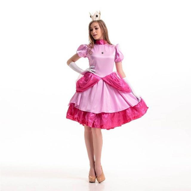 Super Mario Bros Princesa Peach traje Rosa vestido de lujo del traje ...