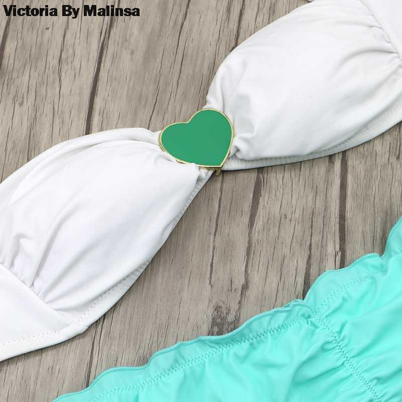 Женский комплект бикини белый топ загадочный Купальник Летний Бикини Низ бразильский купальник кристалл Ювелирная брошь сердце зеленый