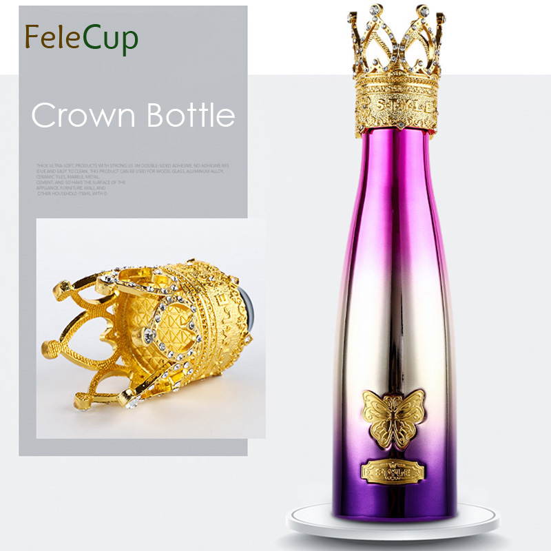 500ML Water Bottle Elegant Crown 304 Stainless Steel Crystal Water Bottle Dual Vacuum Tumbler Office Drinkware Insulation Gift