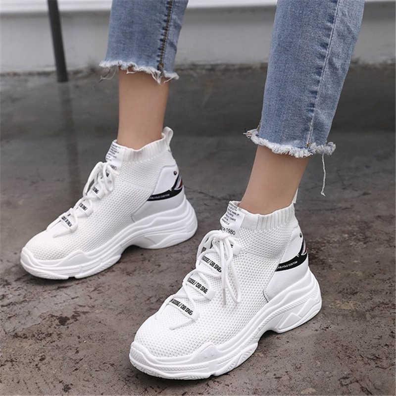 265225da4 Повседневная обувь с высоким берцем, женские вязаные Дышащие носки, модная  обувь на толстой подошве
